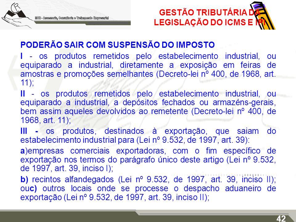 GESTÃO TRIBUTÁRIA DA LEGISLAÇÃO DO ICMS E IPI PODERÃO SAIR COM SUSPENSÃO DO IMPOSTO I - os produtos remetidos pelo estabelecimento industrial, ou equi