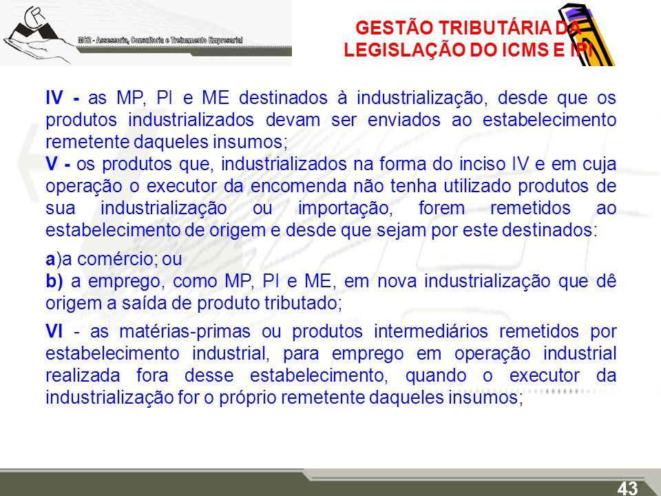 GESTÃO TRIBUTÁRIA DA LEGISLAÇÃO DO ICMS E IPI IV - as MP, PI e ME destinados à industrialização, desde que os produtos industrializados devam ser envi