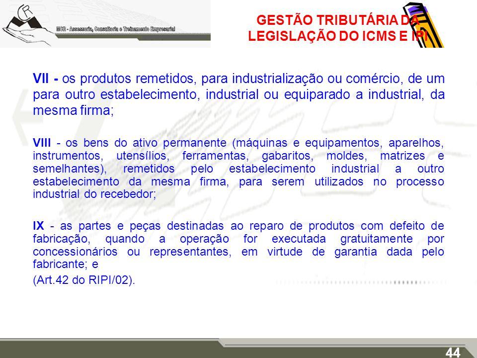 GESTÃO TRIBUTÁRIA DA LEGISLAÇÃO DO ICMS E IPI VII - os produtos remetidos, para industrialização ou comércio, de um para outro estabelecimento, indust