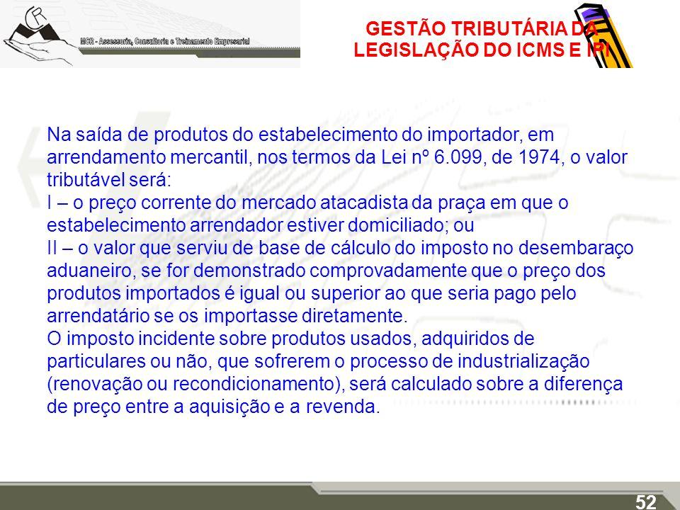 GESTÃO TRIBUTÁRIA DA LEGISLAÇÃO DO ICMS E IPI Na saída de produtos do estabelecimento do importador, em arrendamento mercantil, nos termos da Lei nº 6