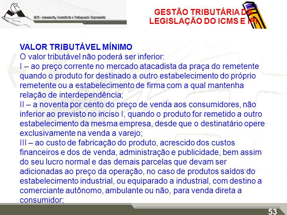 GESTÃO TRIBUTÁRIA DA LEGISLAÇÃO DO ICMS E IPI VALOR TRIBUTÁVEL MÍNIMO O valor tributável não poderá ser inferior: I – ao preço corrente no mercado ata
