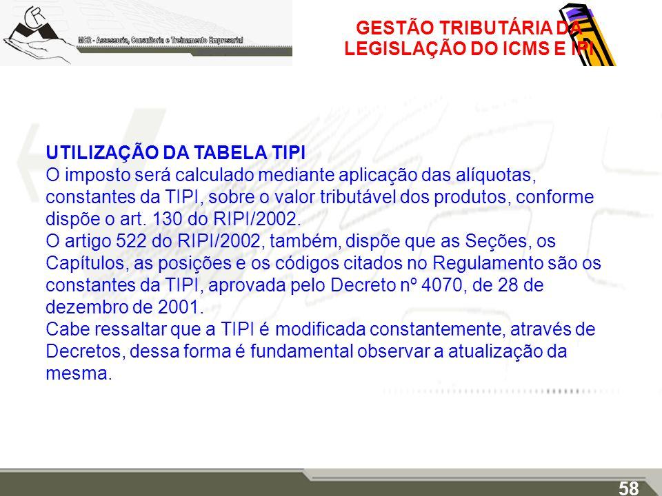 GESTÃO TRIBUTÁRIA DA LEGISLAÇÃO DO ICMS E IPI UTILIZAÇÃO DA TABELA TIPI O imposto será calculado mediante aplicação das alíquotas, constantes da TIPI,
