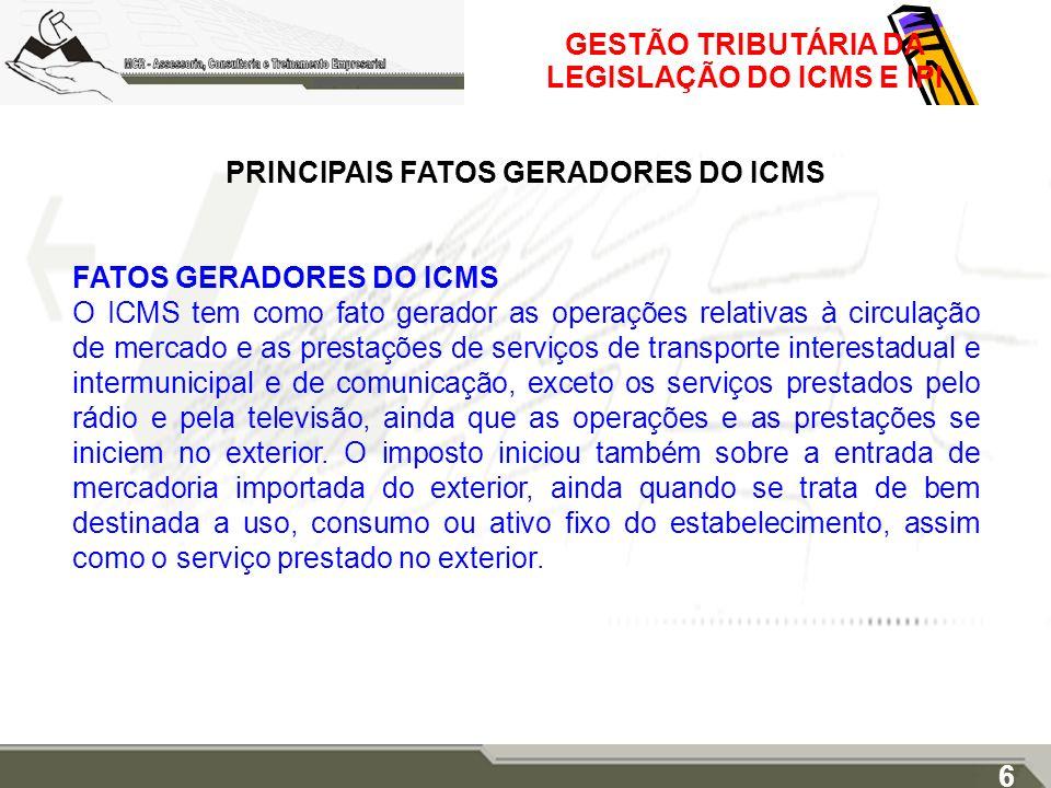 GESTÃO TRIBUTÁRIA DA LEGISLAÇÃO DO ICMS E IPI PRINCIPAIS FATOS GERADORES DO ICMS FATOS GERADORES DO ICMS O ICMS tem como fato gerador as operações rel