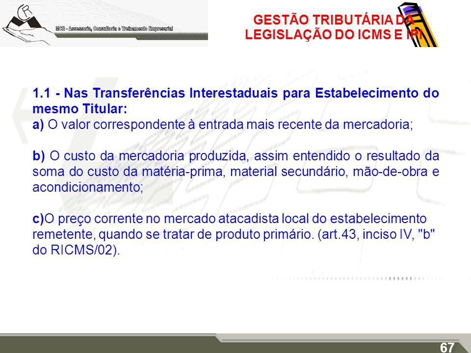GESTÃO TRIBUTÁRIA DA LEGISLAÇÃO DO ICMS E IPI 1.1 - Nas Transferências Interestaduais para Estabelecimento do mesmo Titular: a) O valor correspondente