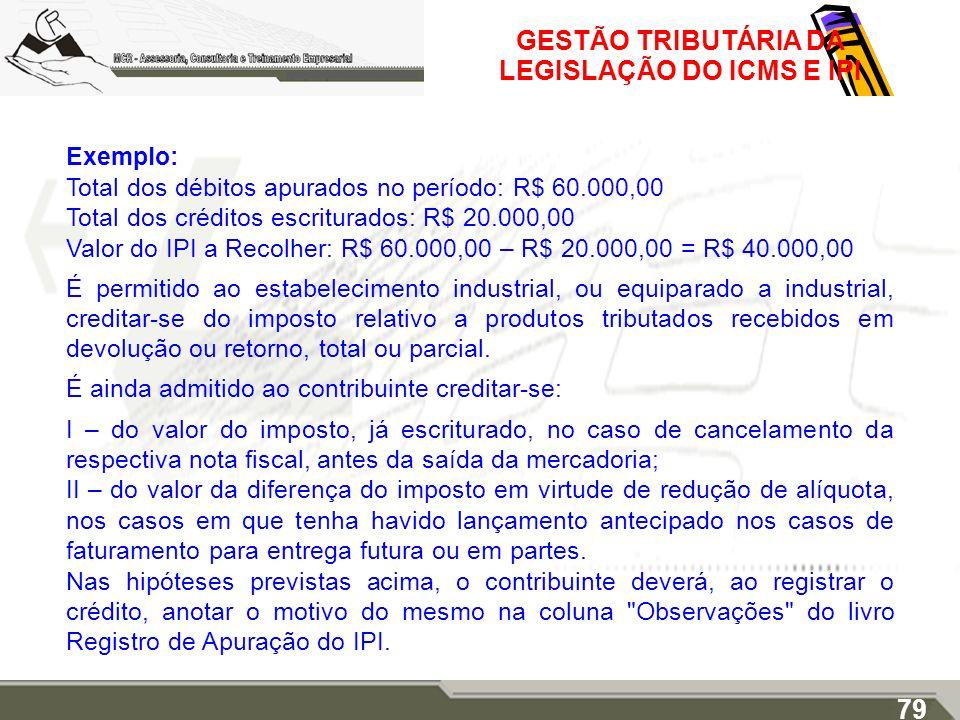 GESTÃO TRIBUTÁRIA DA LEGISLAÇÃO DO ICMS E IPI Exemplo: Total dos débitos apurados no período: R$ 60.000,00 Total dos créditos escriturados: R$ 20.000,