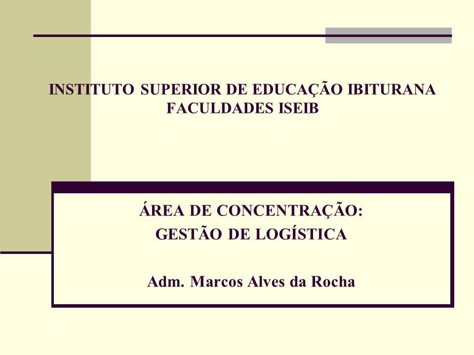 INSTITUTO SUPERIOR DE EDUCAÇÃO IBITURANA FACULDADES ISEIB ÁREA DE CONCENTRAÇÃO: GESTÃO DE LOGÍSTICA Adm. Marcos Alves da Rocha