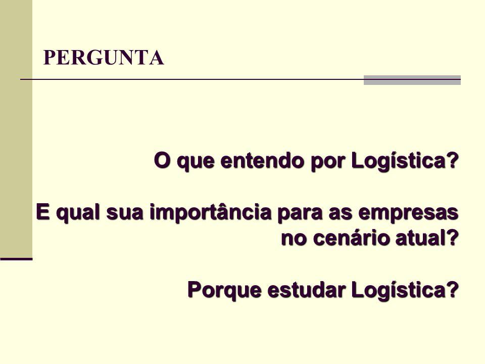 O que entendo por Logística? E qual sua importância para as empresas no cenário atual? Porque estudar Logística? PERGUNTA