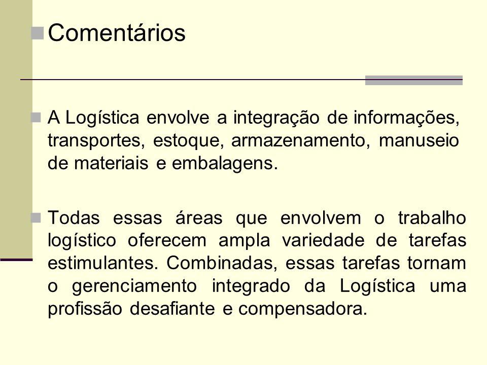 Comentários A Logística envolve a integração de informações, transportes, estoque, armazenamento, manuseio de materiais e embalagens. Todas essas área