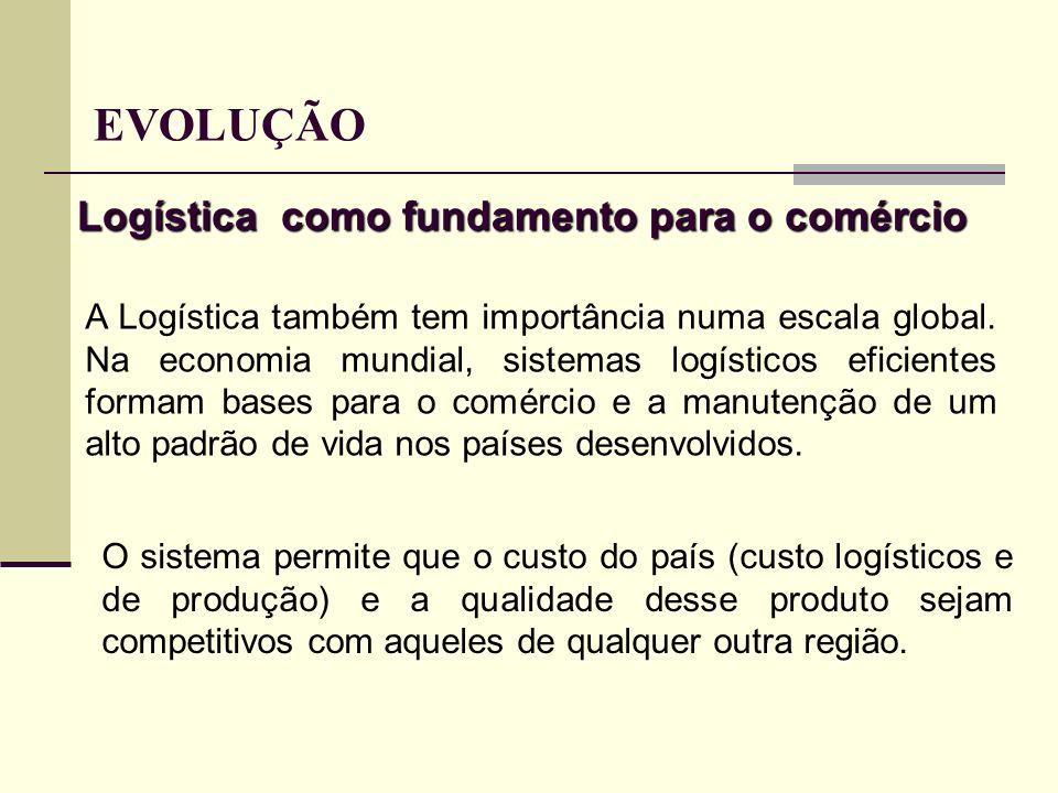 Logística como fundamento para o comércio A Logística também tem importância numa escala global. Na economia mundial, sistemas logísticos eficientes f