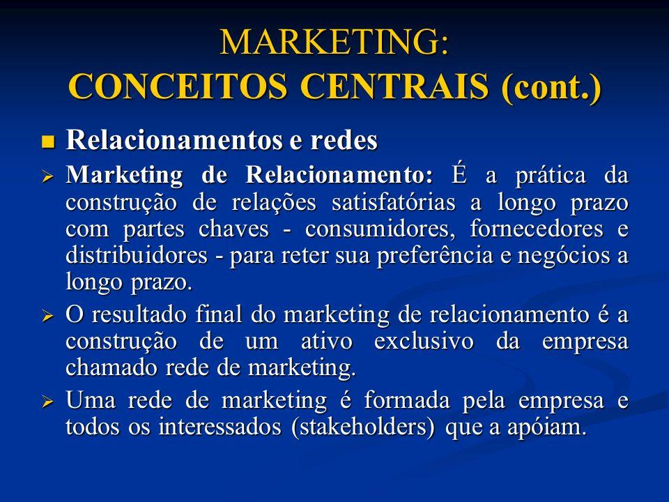 MARKETING: CONCEITOS CENTRAIS (cont.) Relacionamentos e redes Relacionamentos e redes Marketing de Relacionamento: É a prática da construção de relaçõ