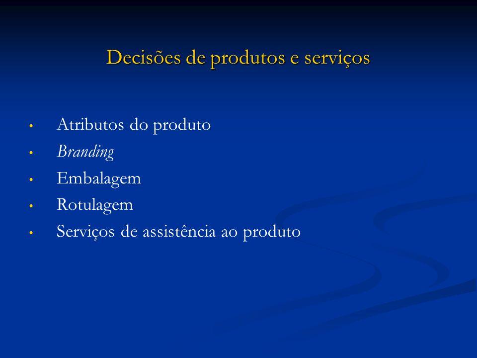 Decisões de produtos e serviços Atributos do produto Branding Embalagem Rotulagem Serviços de assistência ao produto