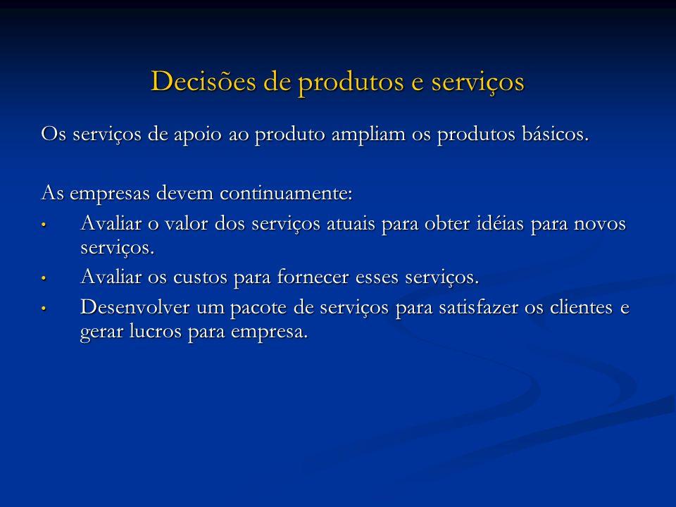 Decisões de produtos e serviços Os serviços de apoio ao produto ampliam os produtos básicos. As empresas devem continuamente: Avaliar o valor dos serv