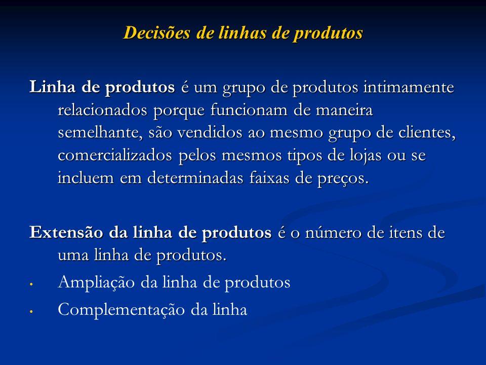 Decisões de linhas de produtos Linha de produtos é um grupo de produtos intimamente relacionados porque funcionam de maneira semelhante, são vendidos