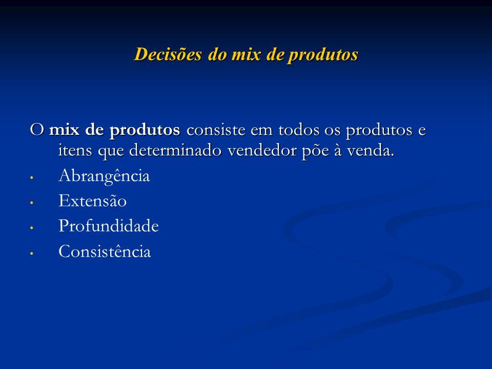 Decisões do mix de produtos O mix de produtos consiste em todos os produtos e itens que determinado vendedor põe à venda. Abrangência Extensão Profund