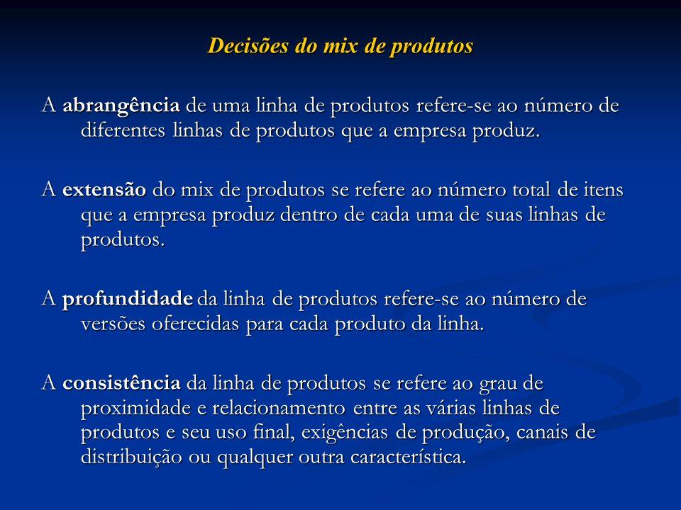 Decisões do mix de produtos A abrangência de uma linha de produtos refere-se ao número de diferentes linhas de produtos que a empresa produz. A extens