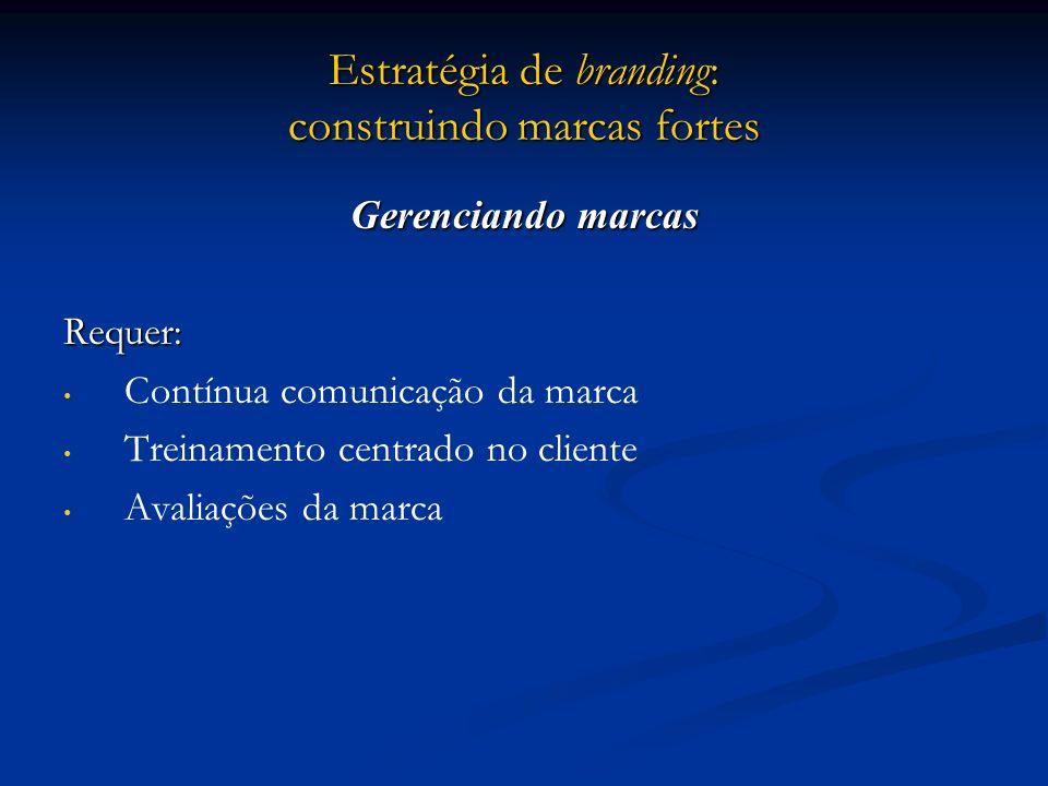 Estratégia de branding: construindo marcas fortes Gerenciando marcas Requer: Contínua comunicação da marca Treinamento centrado no cliente Avaliações