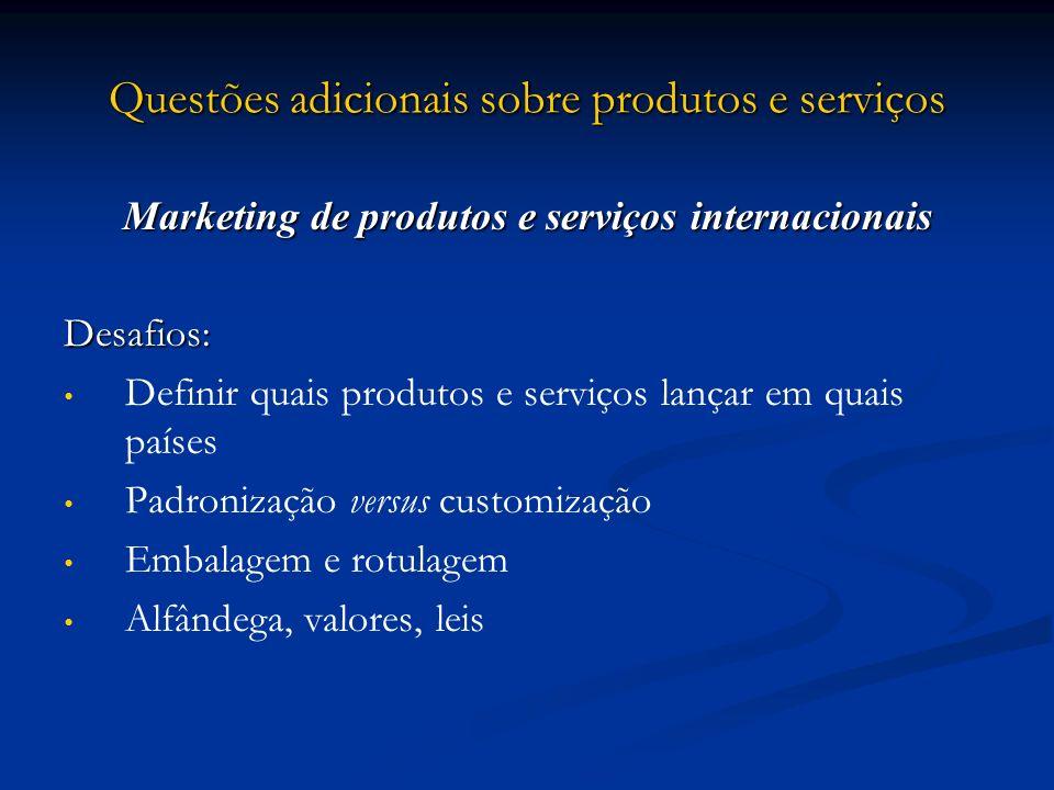 Questões adicionais sobre produtos e serviços Marketing de produtos e serviços internacionais Desafios: Definir quais produtos e serviços lançar em qu