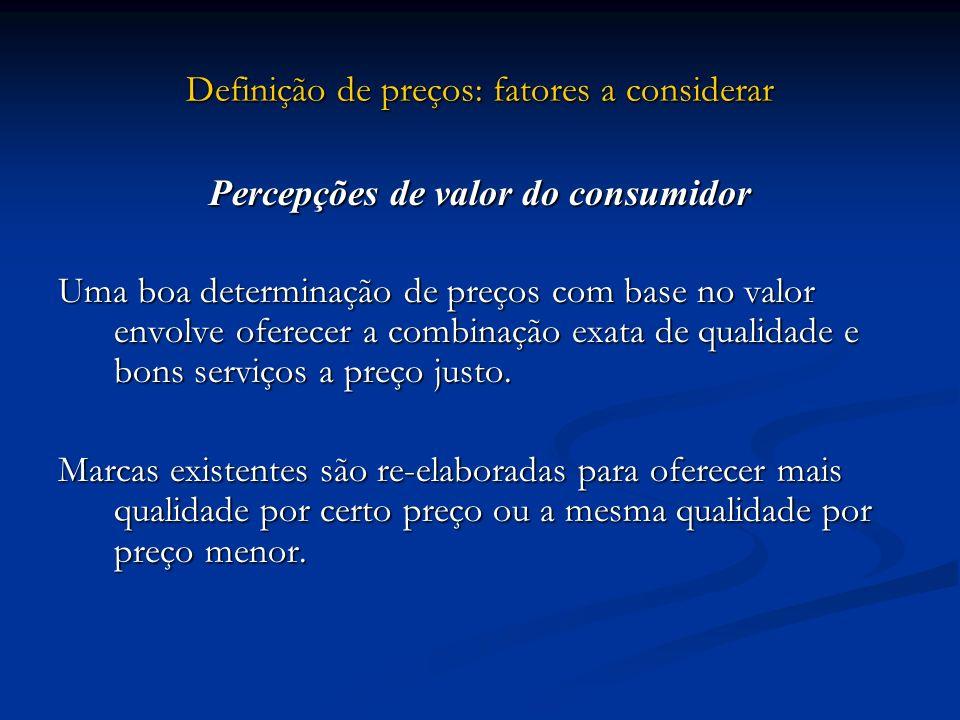 Definição de preços: fatores a considerar Percepções de valor do consumidor Uma boa determinação de preços com base no valor envolve oferecer a combin