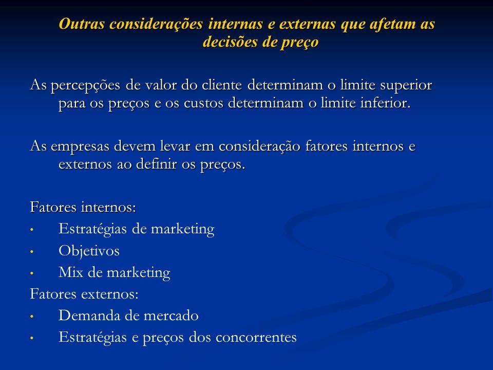 Outras considerações internas e externas que afetam as decisões de preço As percepções de valor do cliente determinam o limite superior para os preços