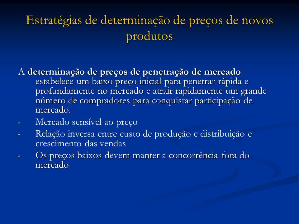 Estratégias de determinação de preços de novos produtos A determinação de preços de penetração de mercado estabelece um baixo preço inicial para penet
