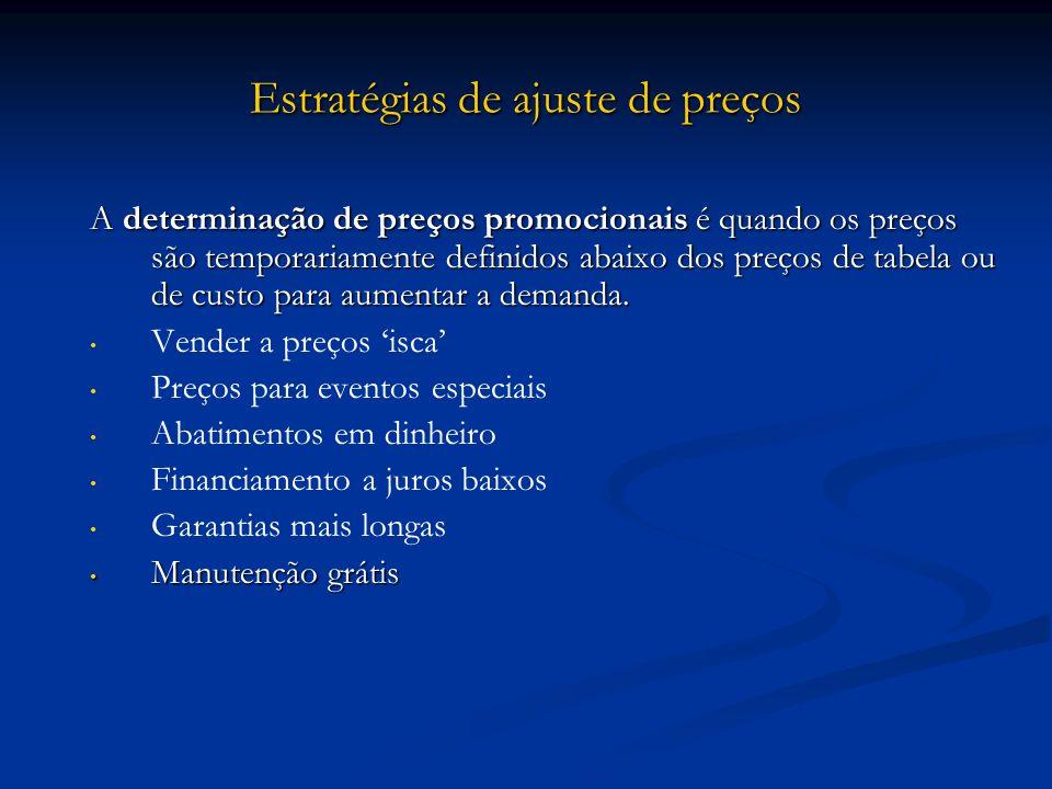 Estratégias de ajuste de preços A determinação de preços promocionais é quando os preços são temporariamente definidos abaixo dos preços de tabela ou