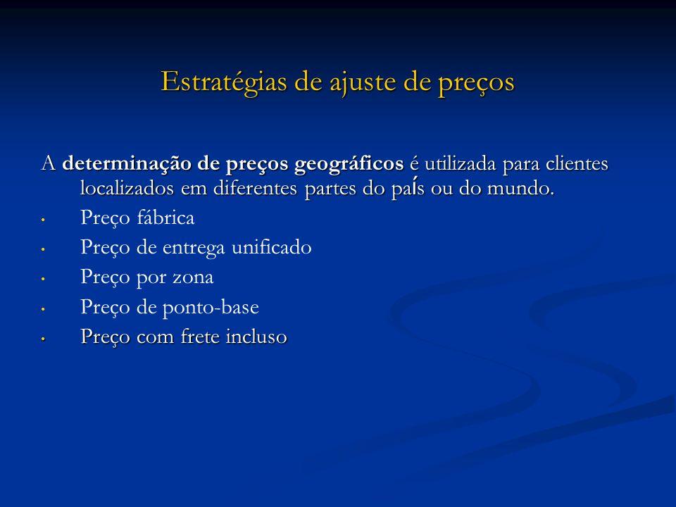 Estratégias de ajuste de preços A determinação de preços geográficos é utilizada para clientes localizados em diferentes partes do pa í s ou do mundo.