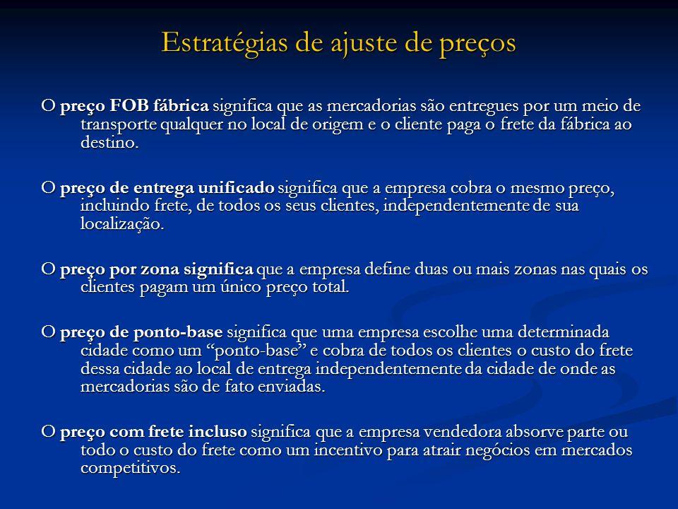 Estratégias de ajuste de preços O preço FOB fábrica significa que as mercadorias são entregues por um meio de transporte qualquer no local de origem e