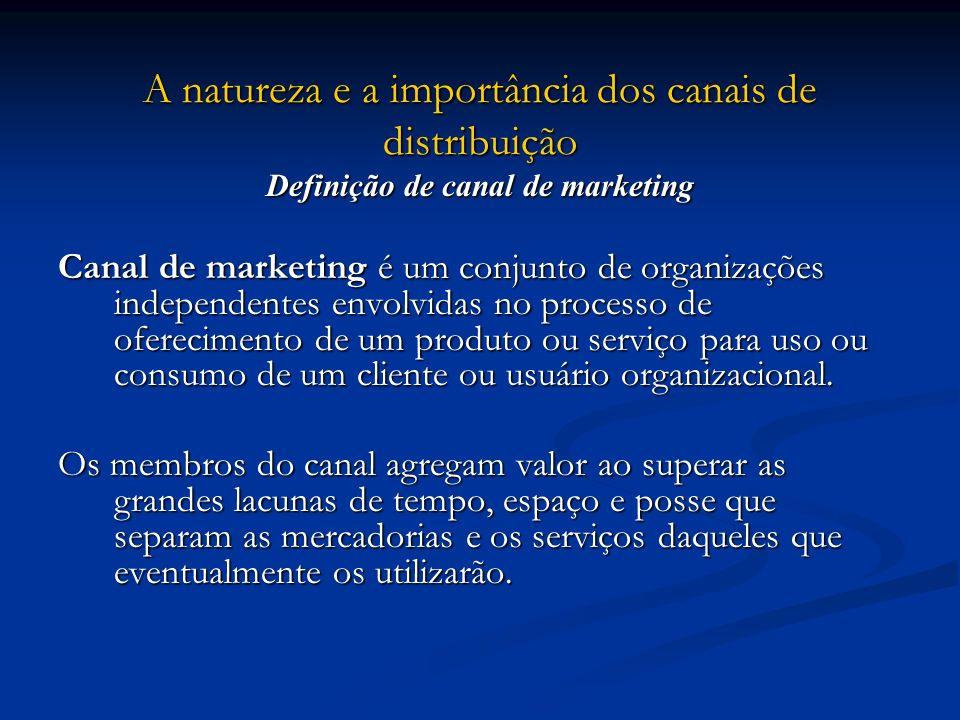A natureza e a importância dos canais de distribuição Definição de canal de marketing Canal de marketing é um conjunto de organizações independentes e