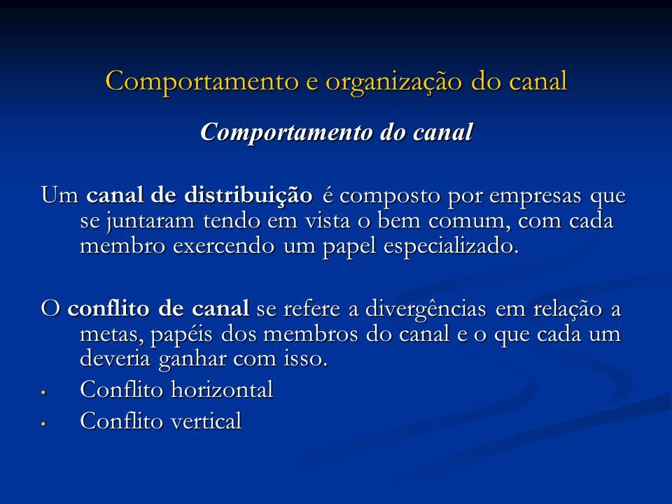 Comportamento e organização do canal Comportamento do canal Um canal de distribuição é composto por empresas que se juntaram tendo em vista o bem comu