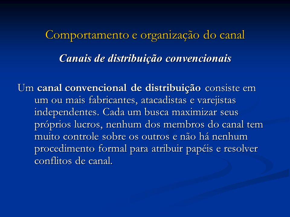 Comportamento e organização do canal Canais de distribuição convencionais Um canal convencional de distribuição consiste em um ou mais fabricantes, at