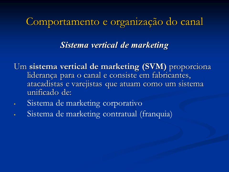 Comportamento e organização do canal Sistema vertical de marketing Um sistema vertical de marketing (SVM) proporciona liderança para o canal e consist