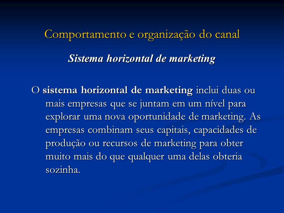 Comportamento e organização do canal Sistema horizontal de marketing O sistema horizontal de marketing inclui duas ou mais empresas que se juntam em u