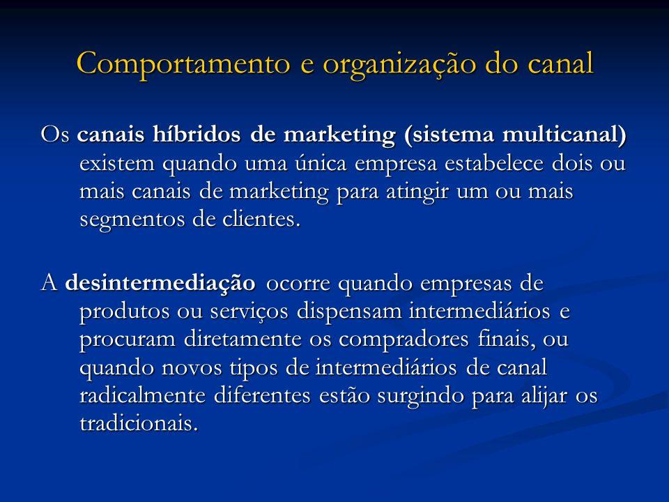Comportamento e organização do canal Os canais híbridos de marketing (sistema multicanal) existem quando uma única empresa estabelece dois ou mais can