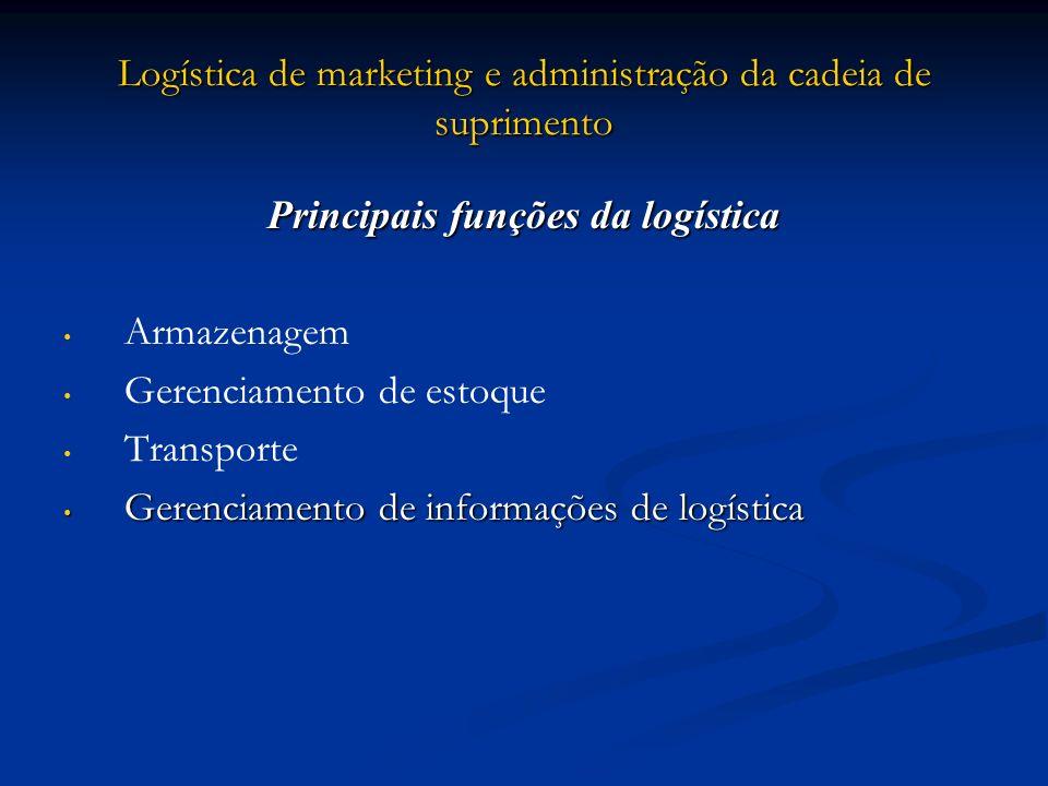 Logística de marketing e administração da cadeia de suprimento Principais funções da logística Armazenagem Gerenciamento de estoque Transporte Gerenci