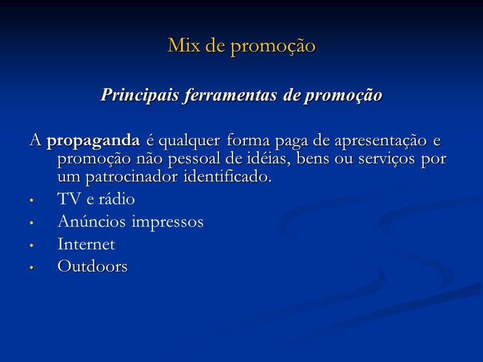 Mix de promoção Principais ferramentas de promoção A propaganda é qualquer forma paga de apresentação e promoção não pessoal de idéias, bens ou serviç