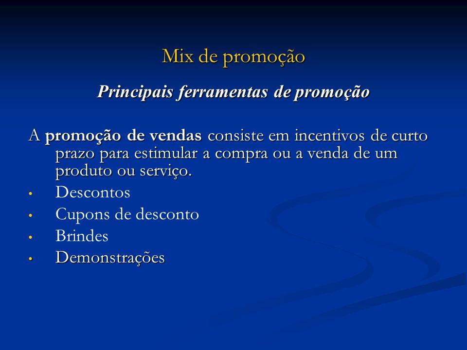 Mix de promoção Principais ferramentas de promoção A promoção de vendas consiste em incentivos de curto prazo para estimular a compra ou a venda de um