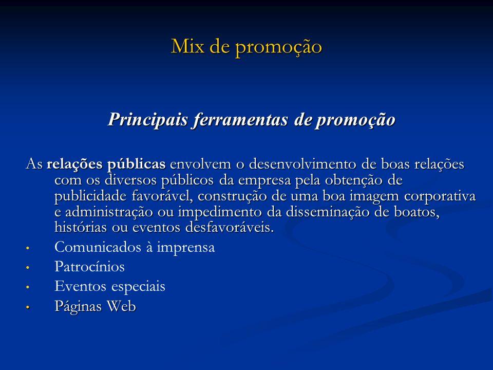 Mix de promoção Principais ferramentas de promoção As relações públicas envolvem o desenvolvimento de boas relações com os diversos públicos da empres