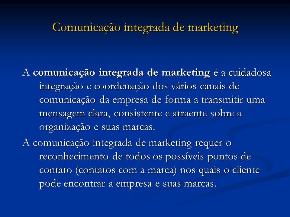 Comunicação integrada de marketing A comunicação integrada de marketing é a cuidadosa integração e coordenação dos vários canais de comunicação da emp