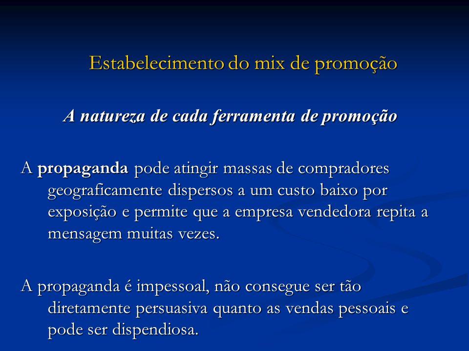 Estabelecimento do mix de promoção Estabelecimento do mix de promoção A natureza de cada ferramenta de promoção A propaganda pode atingir massas de co