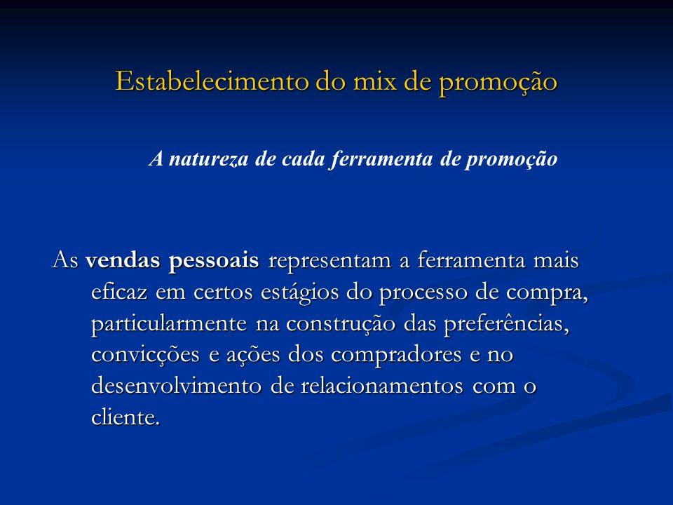 Estabelecimento do mix de promoção As vendas pessoais representam a ferramenta mais eficaz em certos estágios do processo de compra, particularmente n