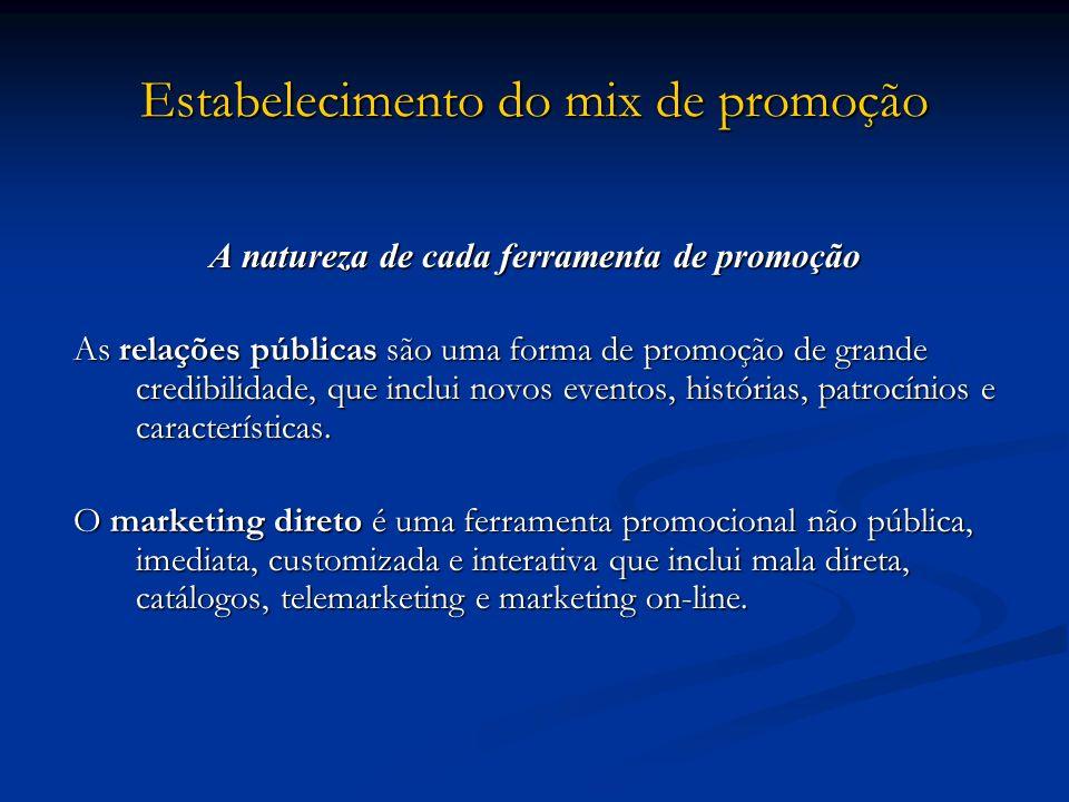 Estabelecimento do mix de promoção A natureza de cada ferramenta de promoção As relações públicas são uma forma de promoção de grande credibilidade, q