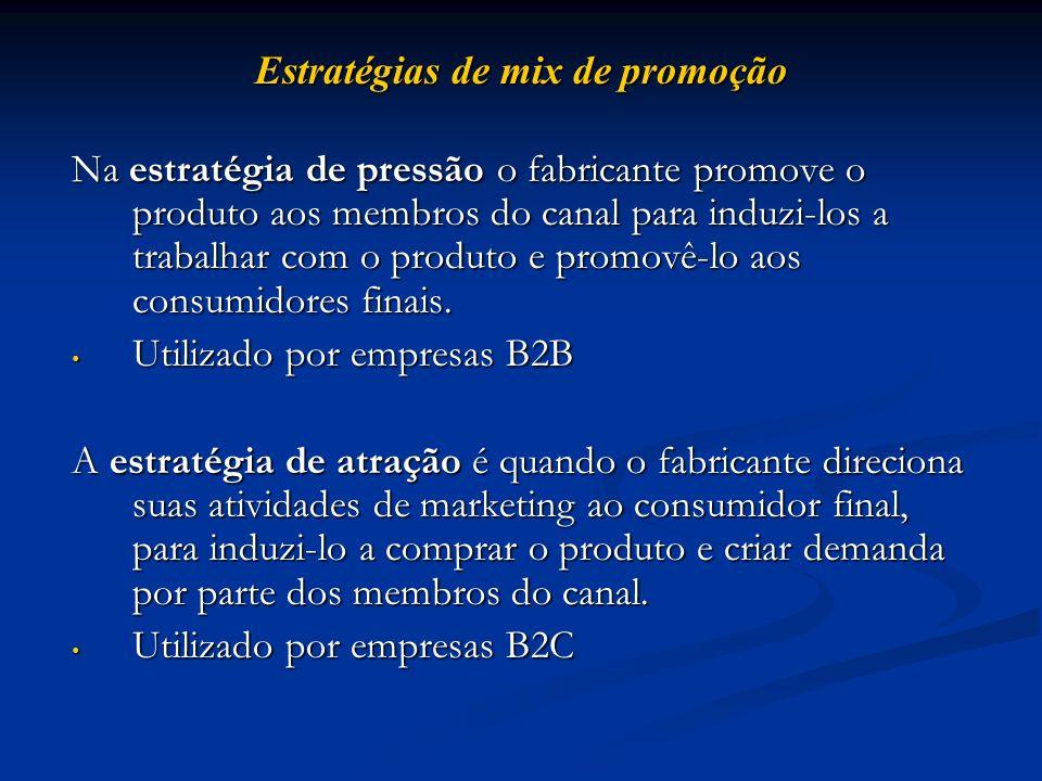Estratégias de mix de promoção Na estratégia de pressão o fabricante promove o produto aos membros do canal para induzi-los a trabalhar com o produto