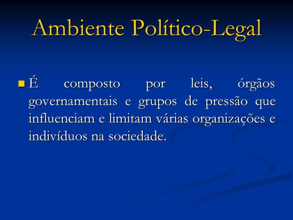 Ambiente Político-Legal É composto por leis, órgãos governamentais e grupos de pressão que influenciam e limitam várias organizações e indivíduos na s