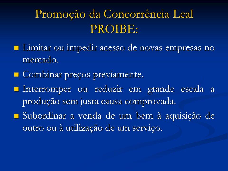 Promoção da Concorrência Leal PROIBE: Limitar ou impedir acesso de novas empresas no mercado. Limitar ou impedir acesso de novas empresas no mercado.