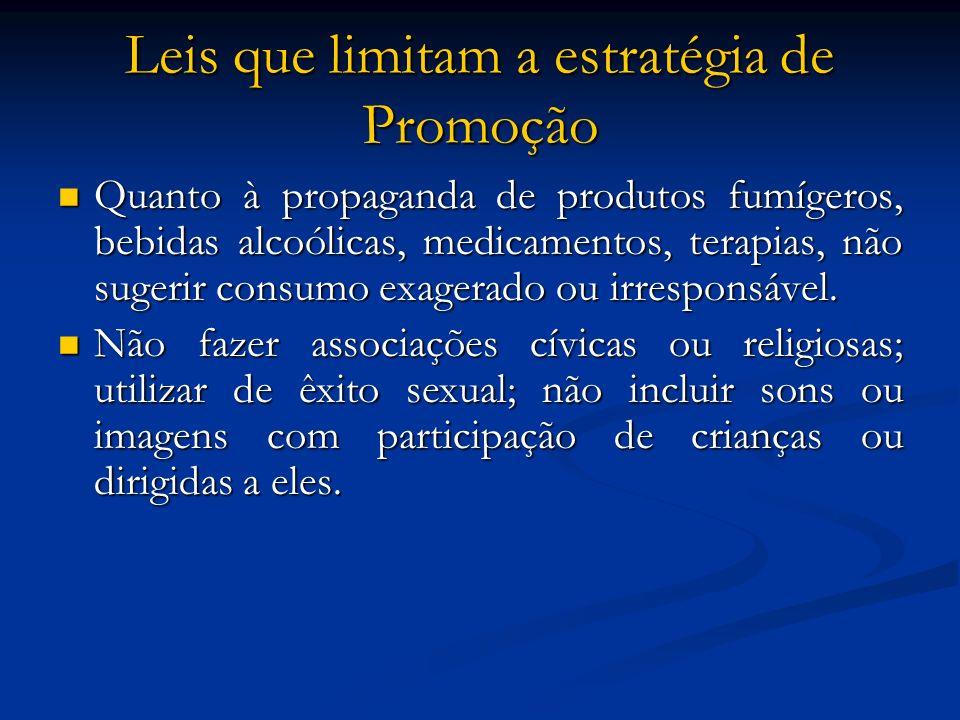 Leis que limitam a estratégia de Promoção Quanto à propaganda de produtos fumígeros, bebidas alcoólicas, medicamentos, terapias, não sugerir consumo e