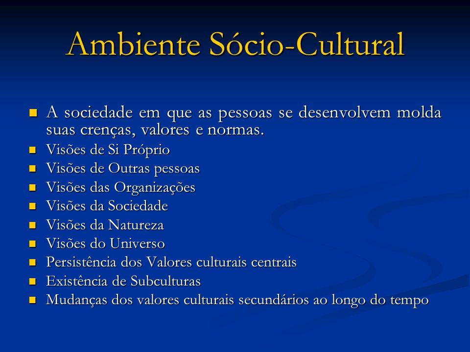 Ambiente Sócio-Cultural A sociedade em que as pessoas se desenvolvem molda suas crenças, valores e normas. A sociedade em que as pessoas se desenvolve