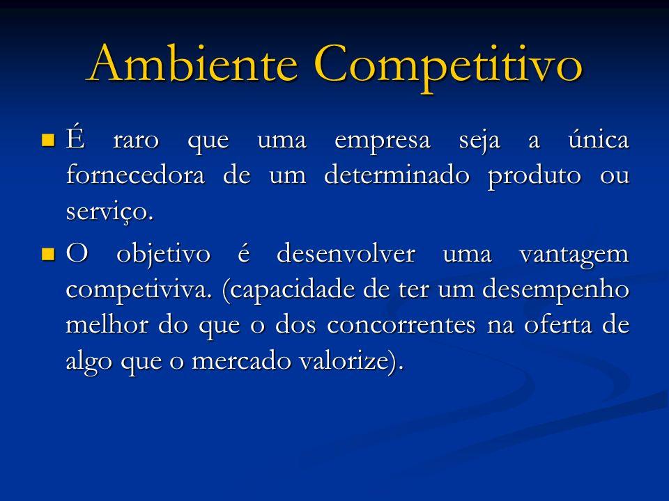 Ambiente Competitivo É raro que uma empresa seja a única fornecedora de um determinado produto ou serviço. É raro que uma empresa seja a única fornece