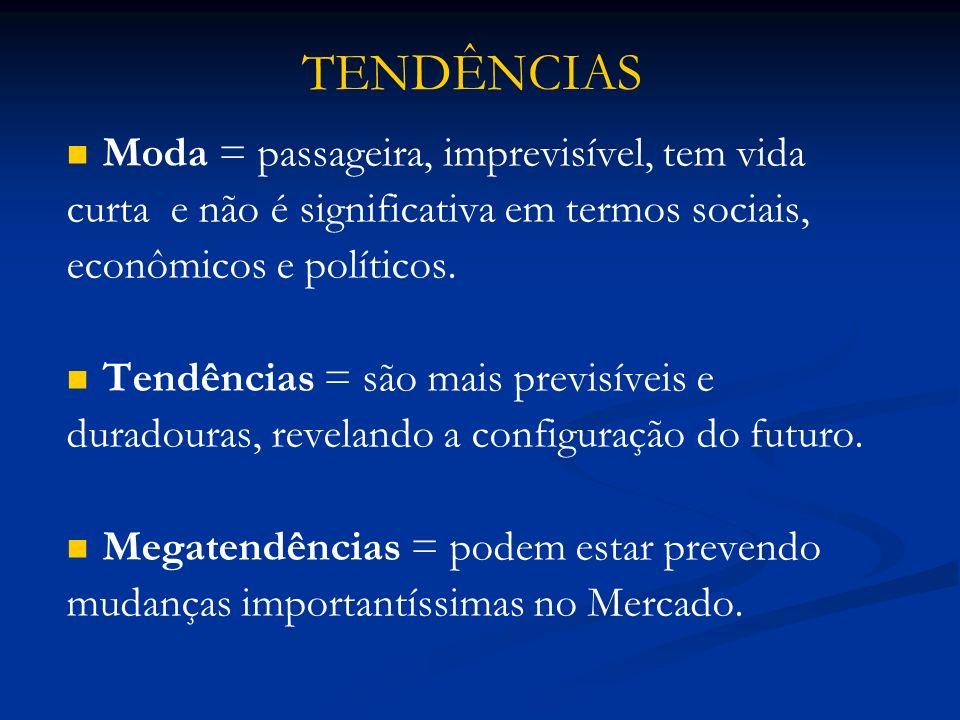 Moda = passageira, imprevisível, tem vida curta e não é significativa em termos sociais, econômicos e políticos. Tendências = são mais previsíveis e d