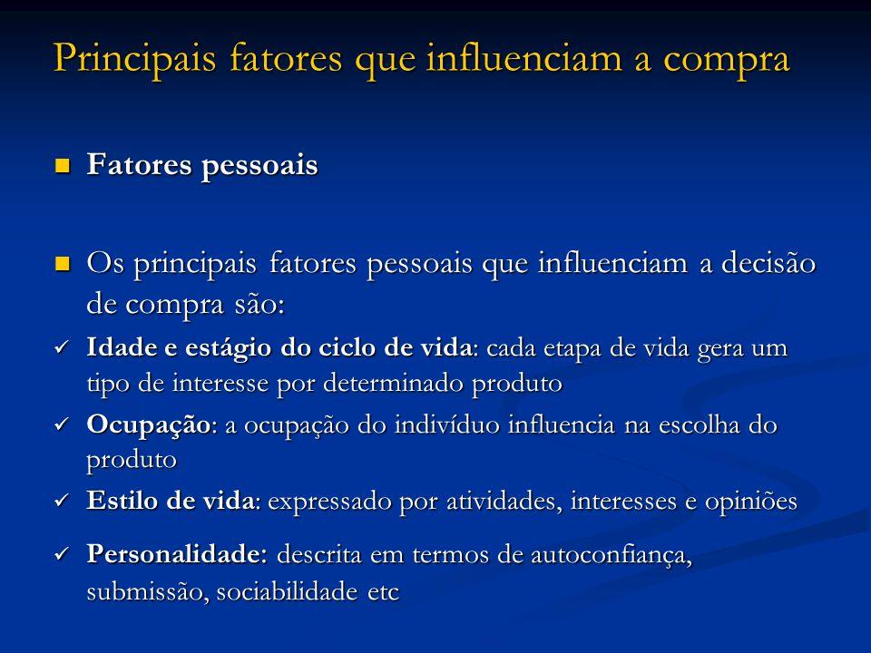 Principais fatores que influenciam a compra Fatores pessoais Fatores pessoais Os principais fatores pessoais que influenciam a decisão de compra são: