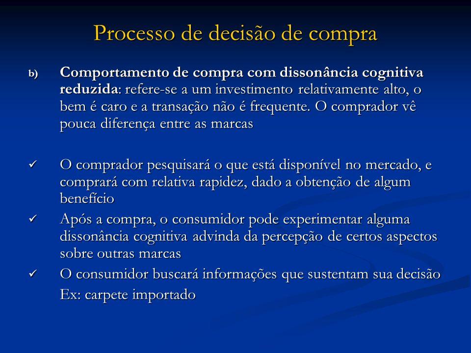 Processo de decisão de compra b) Comportamento de compra com dissonância cognitiva reduzida: refere-se a um investimento relativamente alto, o bem é c